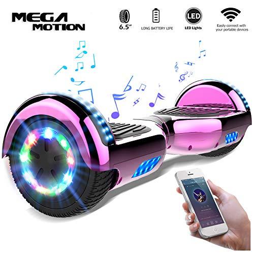 Mega Motion 6.5 Pouces Hoverboard Gyropode Balance Board,Scooter électrique d'auto-équilibre,Skateboard de Haute qualité,LED Roues LED Light,Haut-Parleur Bluetooth,Moteur 700W