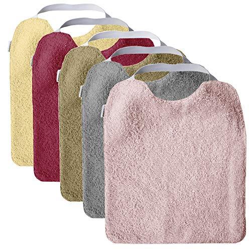 Mimuselina Pack 5 Baberos   Pack Niña Ideal para Guardería, Interior Impermeable, Goma en Cuello para Fomentar Autonomía e Independencia, de Rizo, 31 x 25 cm