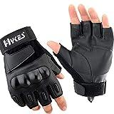 Hykes Half Finger Bike Gloves Racing Motorcycle Riding Tactical Outdoor for Men & Women (Black,...