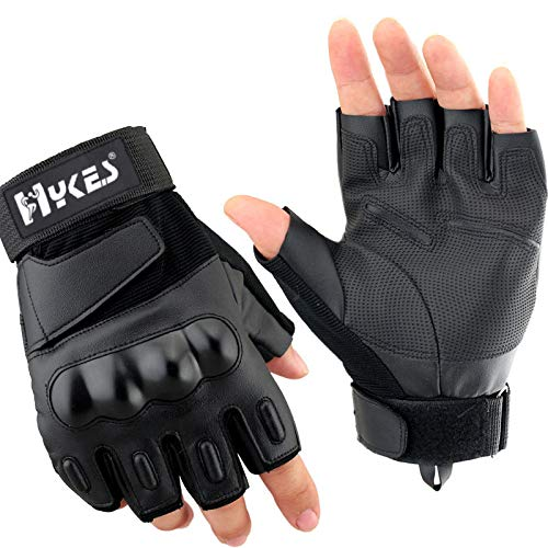 Hykes Half Finger Bike Gloves Racing Motorcycle Riding Tactical Outdoor for Men & Women (Black, Medium)