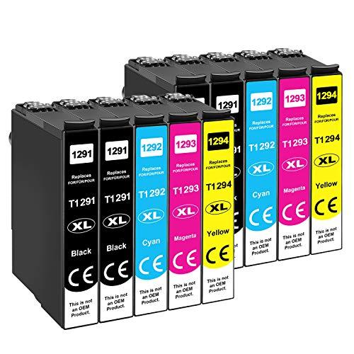 Tinnee - Cartucho T1295 compatible con cartuchos Epson T1291 T1292 T1293 T1294 para Epson Workforce WF-3520 WF-3540 WF-7525 WF-7515 Stylus SX235W SX425W SX445W SX535WD Stylus Office 630FW.