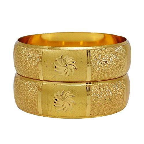 Banithani Traditionellen Indischen 18K Mikron Vergoldete Armbänder Designer Kada Armbänder Sz 2 * 8