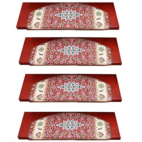 CTO Treppenmatte Arc Treppenstufen Kirschblütenmuster Selbstklebender, rutschfester, stummer, verschmutzungsfreier Schutz Klassischer Pflanzentreppenteppich 65 x 24 x 3 cm, rot, 5-teilig,rot,10 Stück