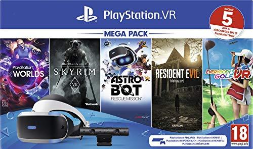Sony PlayStation VR Mega Pack, Avec Casque PS VR + PS Camera + 5 Jeux Inclus, Système Compatible avec Toute Console PS4, Couleur du Casque : Noir et Blanc, Art. : 9998204 [Importación francesa]