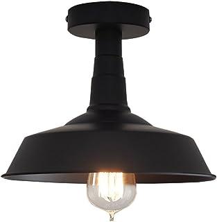 Huahan Haituo Antyczne przemysłowe oświetlenie sufitowe czarny klosz półpodtynkowy oprawa oświetleniowa dom wiejski oświet...
