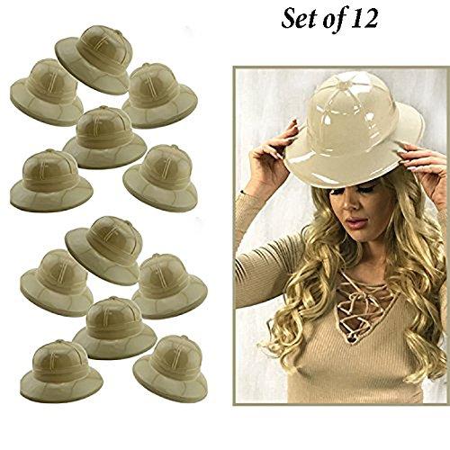 fc5df09088 Adorox 12Pc Khaki Beige Soft Plastic Tan Childs Jungle Safari Pith Sun Hat  Costume Birthday Party