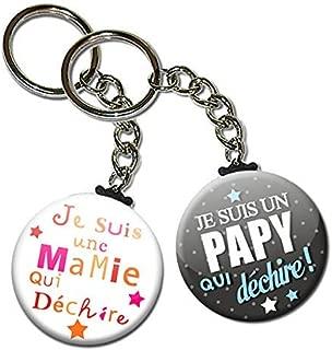 La Plus Belle Mamie du Monde Porte Cl/és Cha/înette 3,8 centim/ètres Id/ée Cadeau Accessoire pour la F/ête des Grands M/ères No/ël Anniversaire Mamy