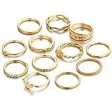 minjiSF Juego de 12 anillos minimalistas de oro para mujer, único, moderno, frío, viento, fino, sencillo, exquisito, regalo maravilloso (oro)