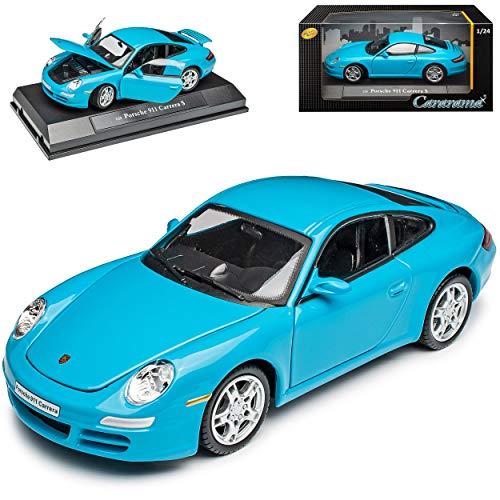 Cararama Porsche 911 997 Carrera S Coupe Miami Blau 2004-2012 1/24 Modell Auto mit individiuellem Wunschkennzeichen