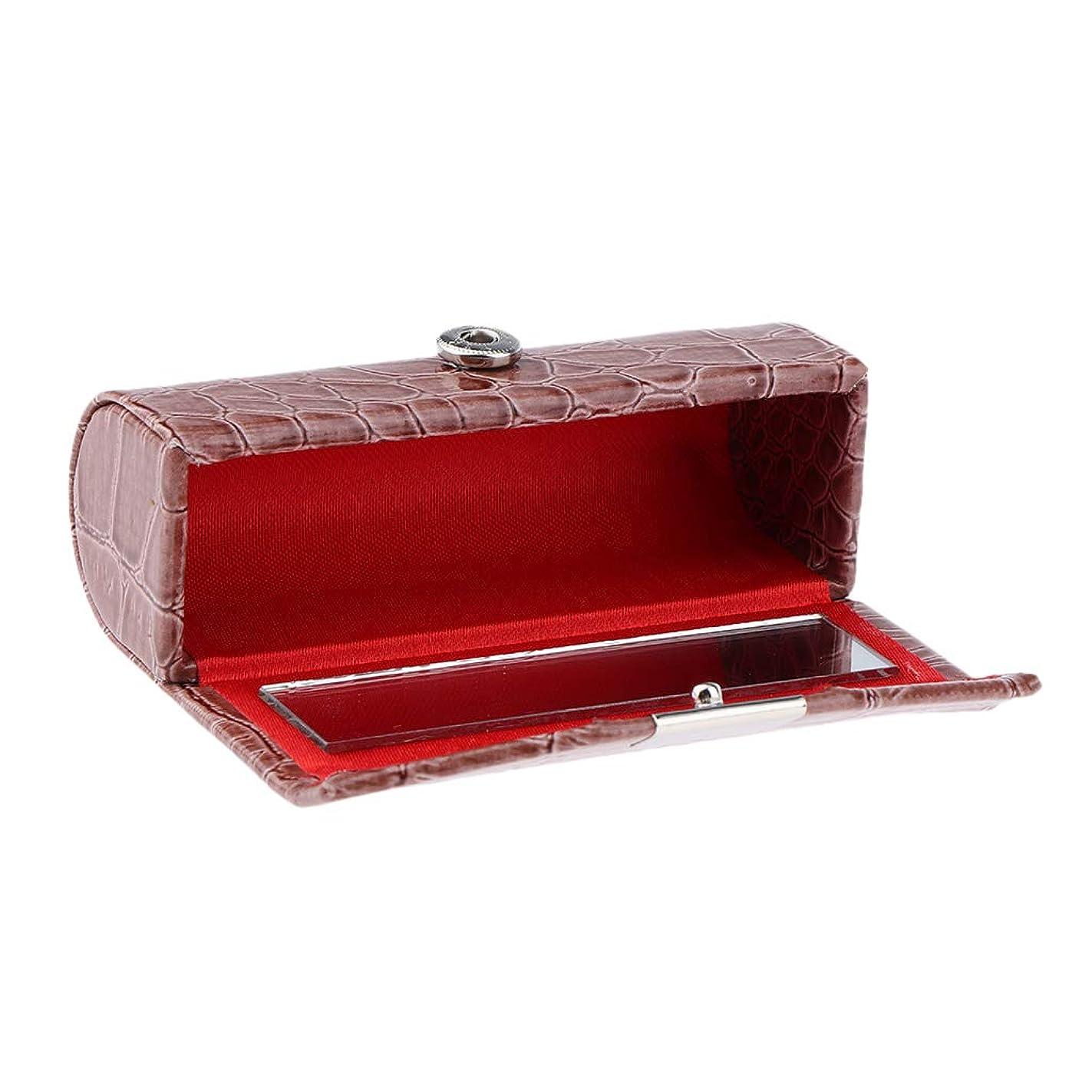 同意する規制表面B Blesiya 口紅ケース コインケース 小物入り 収納ケース リップスティック 多色選べ - 褐色