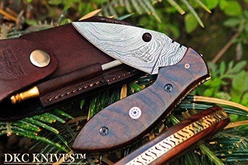 DKC Knives (30 5/18) DKC-38 Diplomat Damascus Folding Pocket Knife 7.5 Long, 4 Folded 4oz Pocket Knife