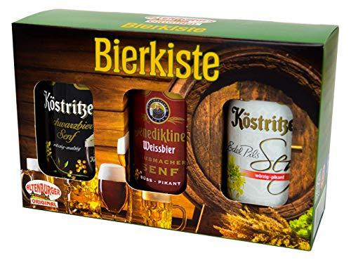 Altenburger Original Bierkiste - drei mit Bier verfeinerte Senfsorten als Geschenk-Set (3-teilig), Geschenkbox für Männer und Frauen