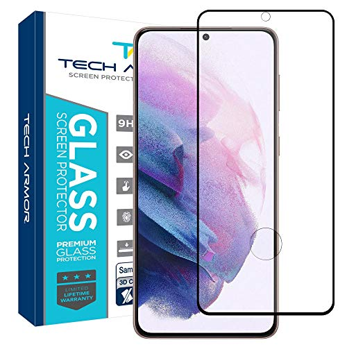 Tech Armor Ballistic Glass 3D Curved Screen Protector Designed for Samsung Galaxy S21 Plus, CASE Friendly, HD Clear, Black - [1-Pack]