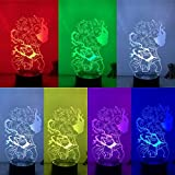 Lámpara 3D Figura de acción Hunter X Hunter Gon Killua Fighting LED NightLight 7 colores Touch Table Decor Night Light Gift Model
