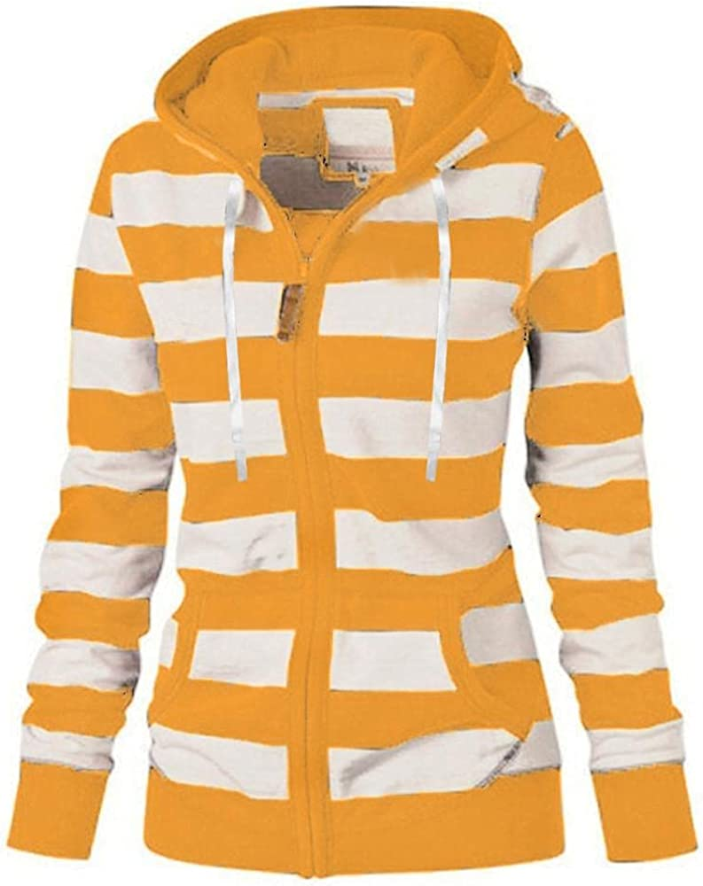 ORT Womens Y2K Zip Up Hoodie Plus Size Long Sleeve Striped Pullover Sweatshirt Casual Tunic Jacket Coat with Pockets