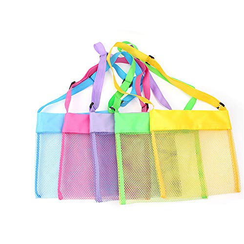 5-PCS Colorful Mesh Beach Bags Sand Away Portable Foldable Sea Shell Bag with Adjustable Carrying Straps / Toy Storage Bag [Yellow, Rose, Purple, Green, Blue] Set of 5 Beach Bags