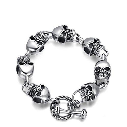 Gudeke Herren-Armband Neue Armschmuck Retro Skull and Crossbones Schädel und gekreuzte Knochen Edelstahl Armreifen