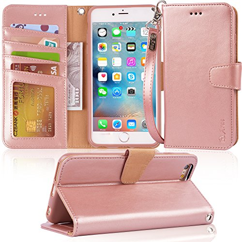 Arae Wallet case for iPhone 6s Plus/iPhone 6 Plus [Kickstand Feature] PU Leather with ID&Credit Card Pockets for iPhone 6 Plus / 6S Plus 5.5 inch (not for 6/6s) (Rosegold)