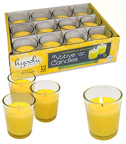 Citronella Candle Votives in Glass Cup - 12 Pack - Indoor and Outdoor Decorative and Mosquito, Insect and Bug Repellent Candle - Natural Fresh Scent – 12 Hour Burn Time