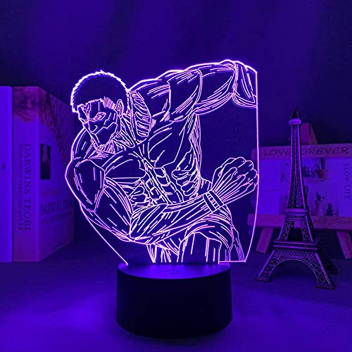 Luz 3D -3d lámpara de noche lámpara de ilusión Ataque de anime en titanio El titanio blindado para la decoración de la decoración del dormitorio Luz de cumpleaños Ataque manga en Titanium LED Luz noct