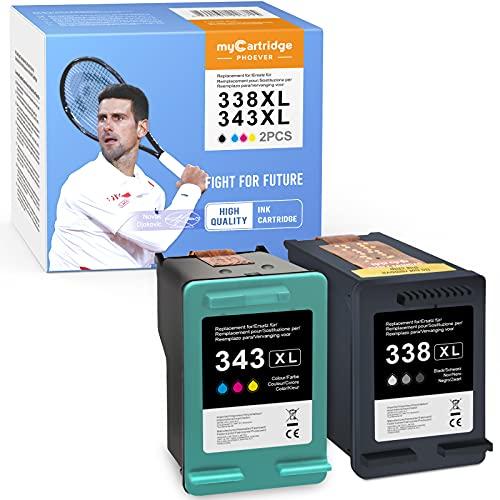 MyCartridge PHOEVER Cartucho remanufacturado Compatible para HP 338XL 343XL HP Photosmart C3180 2710 7850 8150 PSC 1610 OfficeJet 100150 6210 7310 DeskJet 460c 5740