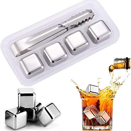 4 Piezas Whisky Piedras Hielos Reutilizable, Cubitos de Hielo Reutilizables de Acero Inoxidable, Cubos Enfriadores Piedras con Pinzas, para Whisky Vodka y Cerveza de Vino y Todas Las Bebidas