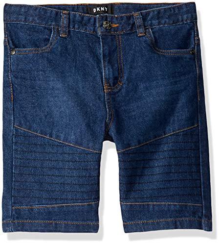 DKNY Boys' Big Moto Denim Short, Medium Indigo, 16