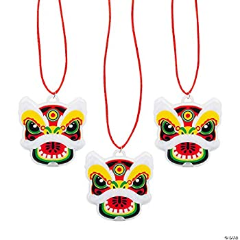 Light-Up Chinese New Year Dragon Necklaces - Party Jewelry - 12 Pieces