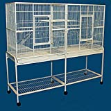 Mcage Double Large 3 Level Ferret Chinchilla Sugar Glider Small Animal Wrought Iron Double Cage with Slide Out Divider 63' Length x 19' Depth x 64' Height with Removable Rolling Stand on Wheels