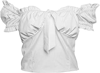 Domple Women Solid Off The Shoulder Tie Up Sexy Crop Tops Tee Blouse