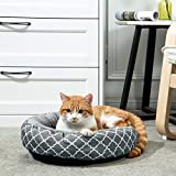 Uozzi Bedding Warming Donut Cushion Cat Bed, Calming Pup Small Pet Dog Bed, Non-Slip Bottom, Machine Washable Flannel 17' Round Bed for Puppy and Kitten with Fluffy Comfy Lining Plush Dark Gray