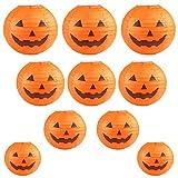 Kesote Halloween Linternas de Papel Redondos 10 Farolillos con Calabazas de Diferentes Tamaños (6'/ 8' / 10'/ 12') Decoración de Halloween, Naranja