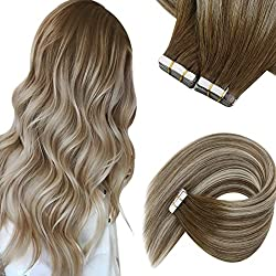 in budget affordable Hair Extension Sun Tape – Natural Hair Extension 16 Inch Tape Seamless Hair Skin Weft Tape…