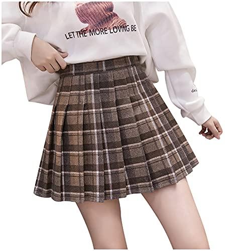 Yue668 - Falda plisada de lana a cuadros para mujer, para esquiar o esquiar con falda de cintura alta plisada de lana y cuadros, café, S