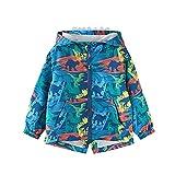 Hinzonek Chubasquero impermeable para niños y niñas, con capucha de dinosaurio, chaqueta cortavientos para viajes, deportes al aire libre durante 1-5 años (4-5 años, azul)