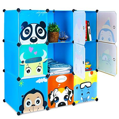 BAMNY Armadio Modulare Bambini, Armadio Portatile per Appendere i Vestiti, Stanzino Combinato, Armadietto in Moduli Plastici per Stoccaggio di Abbigliamento, Giocattoli, Asciugamani o Libri, Blu