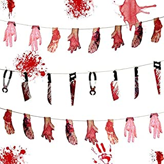 Alpurple 3 Set Halloween Bloody Weapon Garland Props -24 PCS Fake Scary Broken Blood Hands and Feet Hanging Banner, Scary ...