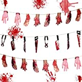 Alpurple 3 Set Halloween Bloody Weapon Garland Props-24 PCS Fake Scary Broken Blood Hands and Feet Hanging Banner, Scary Halloween Decorations for Halloween Party Decoration and Vampire Zombie Party Supplies
