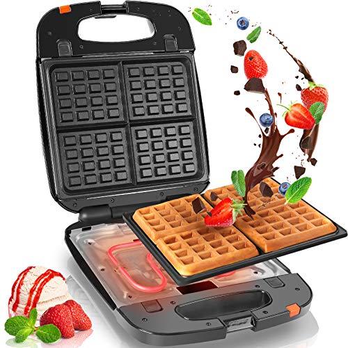 Duronic WM60 Piastra per Waffle | Macchina per 4 Waffle | Piastra per Cialde 1200W | Piastra di cottura antiaderente rimovibile | Controllato autimatico della temperatura | Piastra per Waffle Belga
