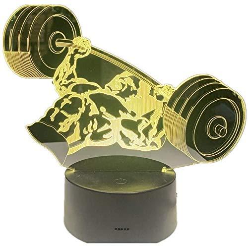 LIX-XYD Umgebungslicht, Nachtlicht Gewicht Badminton Tauchen Baseball Ballett 7 Farbwechsel LED-Acryl Flache LED Noten-Schalter Schreibtisch Ballett Stimmungslicht (Color : Weightlifting)