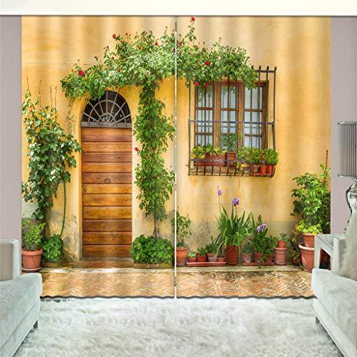 zpbzambm Salon Chambre Rideau D'Occultation Impression 3D Art Street View Isolation Réduction du Bruit Soie Noire Rideau 150(H) X125Cm(L) X2Pièces/Set