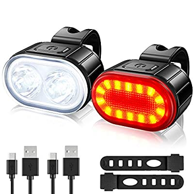 Ultra Bright Bike Lights Set, USB Rechargeable 2 LED Front and Back Rear Bicycle Light Combo, IPX5 Waterproof Mountain Helmet Road Cycle Headlight and Taillight Set for Men Women Kids (4/6 Modes)