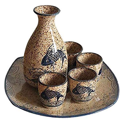 Sake Cup Set Wein Cups japanischer Sake-Set, 5 Stück Sake Cup mit Keramik-Tray Urige Textur Elegant Design, for Kalt/Warm/Shochu/Tee for Familie und Freunde for Geschenk Sake Cups