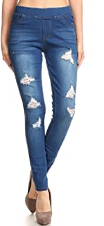 Women's Pull-On Ripped Destroyed Stretch Skinny Denim Jeggings Plus Size