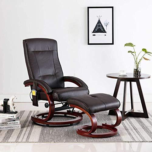 Woodtree Sillón Relax Masaje Elevador reclinable y reposapiés Cuero sintético marrón
