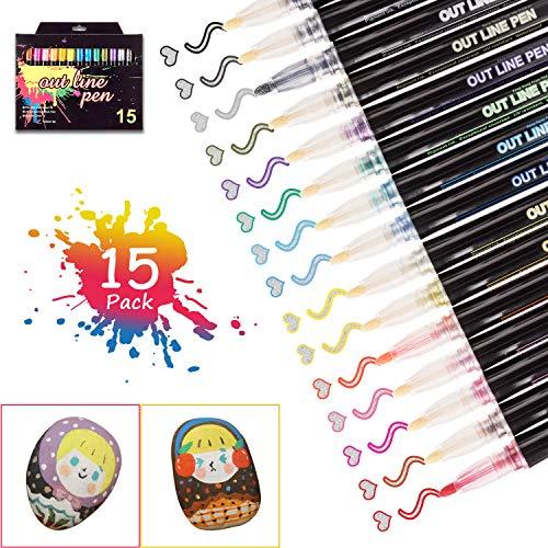 15 Farben Acrylstifte Marker Stifte , Double Line Outline Pens,Gliederungsstift, Outline Stift, Farben Wasserfeste Stifte, Metallic Marker Stifte, für Papier Glas Kunststoff Keramik Metall DIY