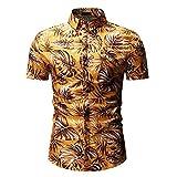 DDZYQ Plage Shirt Homme Été Cardigan Hawaïen Style Homme Henley Chemise Moderne Basique Slim Fit Stretch Homme Manches Courtes Décontractées Vacances Homme Chemise B-Golden XL