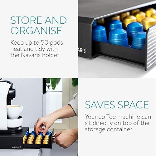 Navaris Tiroir à Capsule de Café - Rangement Support pour Dosette Machine à Café Nespresso - Distributeur Range-Dosette 50 Capsules - Noir