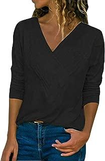 Camisa Mujer Manga Larga Cuello V Casual Suelto Blusa Batwing Elegantes Color Sólido Pullover Tops Deportiva Oficina Tops Básica Blusas