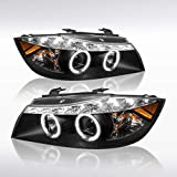 Autozensation For BMW E90 3-Series 4Dr Black LED Halo Projector Headlights Pair